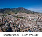 Aerial drone view of the Pasto City and the Galeras volcano