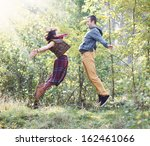 young woman and man in bright... | Shutterstock . vector #162461066