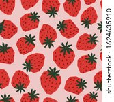 seamless pattern strawberry...   Shutterstock .eps vector #1624635910