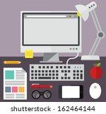Desktop Computer And Desk...
