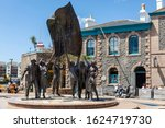 Small photo of JERSEY, CHANNEL ISLANDS - 06/08/2019: The Liberation monument (sculptor Philip Jackson) in Liberation Square, St Helier.