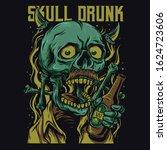 skull drunk cartoon funny...   Shutterstock .eps vector #1624723606