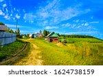 Summer rural village road view. ...