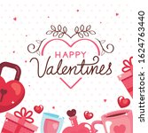 happy valentines day card with... | Shutterstock .eps vector #1624763440