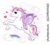 cute little unicorn character... | Shutterstock .eps vector #1624904560