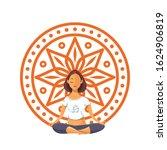 girl in lotus position against...   Shutterstock .eps vector #1624906819