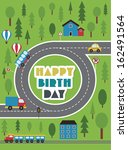happy birthday vehicle card.... | Shutterstock .eps vector #162491564