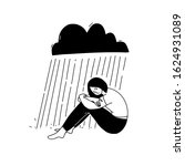 young depressed woman sitting... | Shutterstock .eps vector #1624931089