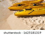 a row of colorful yellow kayaks ... | Shutterstock . vector #1625181319