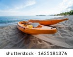 two colorful orange kayaks on a ... | Shutterstock . vector #1625181376