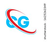 Letter CG, C G, G C logo. Monogram Initial of Letter GC or CG Logo Design Template. Blue and red color CG initial based Alphabet icon logo.