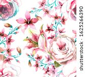 watercolor roses and small...   Shutterstock . vector #1625266390