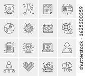 business icon set. 16 universal ... | Shutterstock .eps vector #1625300359