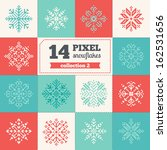 Set Of Pixel Snowflakes