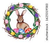 watercolor spring easter wreath ...   Shutterstock . vector #1625319583