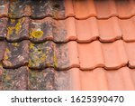 Small photo of Comparison roof top before and after cleaning moss lichen high pressure water cleaner tile