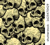 seamless pattern with skulls....   Shutterstock .eps vector #1625470429