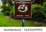 Great Florida Birding Trail Brown and White Metal Sign. Florida Public Park Sign for the Great Florida Birding Trail.