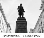 Statue of 1st Baron Robert Clive (aka Clive of India) commander in chief of British India in London, UK in black and white