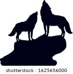 Pair Of Wolves On A Hill With...