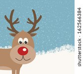 reindeer snowy background | Shutterstock .eps vector #162566384