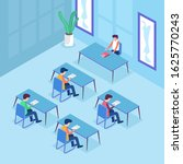 exam classroom of students at...   Shutterstock .eps vector #1625770243