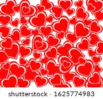 a pattern of red hearts on a... | Shutterstock . vector #1625774983