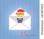 santa claus boy vector cartoon... | Shutterstock .eps vector #162587810