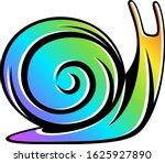rainbow snail on a white... | Shutterstock .eps vector #1625927890
