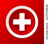 medicine 3d paper icon on a red ... | Shutterstock .eps vector #162594848