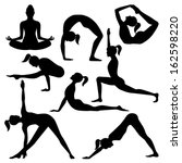 vector silhouettes of yoga... | Shutterstock .eps vector #162598220