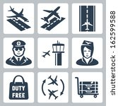 vector airport icons set ...