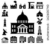 buildings icon set.illustration ... | Shutterstock .eps vector #162600740