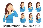 set of sad beautiful woman with ... | Shutterstock .eps vector #1626035710