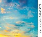 bright blue color sunset sky | Shutterstock . vector #162605624