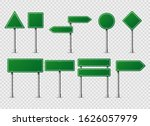 green vector road traffic signs....   Shutterstock .eps vector #1626057979