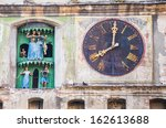 ancient clock on a medieval... | Shutterstock . vector #162613688