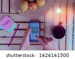 Small photo of Word writing text De Clutter Your Life. Business concept for remove unnecessary items from untidy or overcrowded places woman computer smartphone drink mug office supplies technological devices.