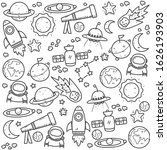 set of astronomy doodle... | Shutterstock .eps vector #1626193903