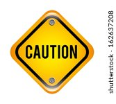 caution signal over white black ... | Shutterstock .eps vector #162637208