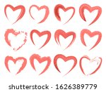 collection of red watercolor... | Shutterstock .eps vector #1626389779