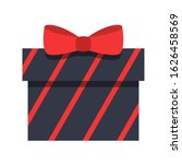 striped gift box with red bow...