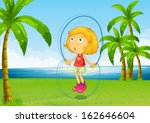 illustration of a girl playing... | Shutterstock .eps vector #162646604