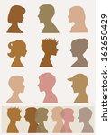 Silhouettes  Profiles. Sepia...