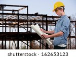 male construction worker on a... | Shutterstock . vector #162653123