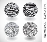 set of vector abstract globes | Shutterstock .eps vector #162661124
