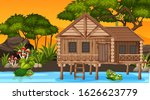 scene with wooden cottage in... | Shutterstock .eps vector #1626623779