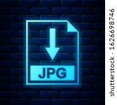 glowing neon jpg file document...