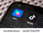 Small photo of Stone / United Kingdom - January 26 2020: Byte app and Tiktok app in the corner of smartphone. Byte is the sequel to Vine app and potential competitor to TikTok.