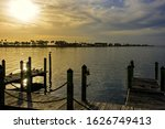 Evening light on Tampa Bay and the Courtney Campbell Causeway in Tampa, Florida